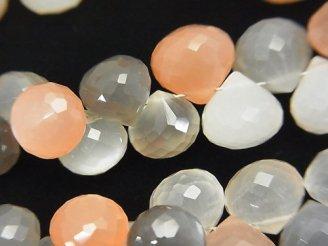 天然石卸 宝石質マルチカラームーンストーンAAA オニオン ブリオレットカット 半連/1連(約18cm)