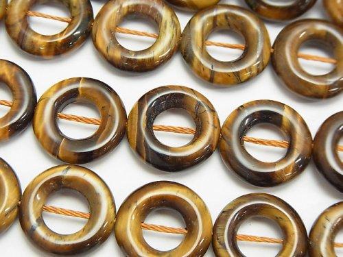 イエロータイガーアイAA+ コイン(ドーナツ)15×15×4mm 半連/1連(約37cm)