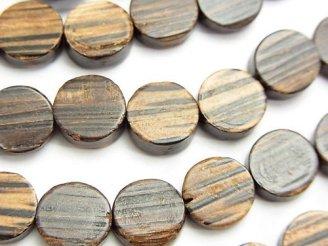 天然石卸 1連580円!パームウッド(椰子の木) コイン10×10×4mm 【ダークカラー】 1連(約38cm)