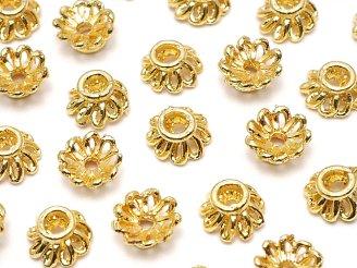 天然石卸 メタルパーツ ビーズキャップ6×6×3mm ゴールドカラー 10個180円!