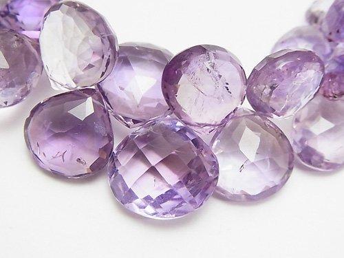 1点もの!宝石質アメジスト×スモーキーAAA- 大粒マロン ブリオレットカット 1連(約18cm) NO.2