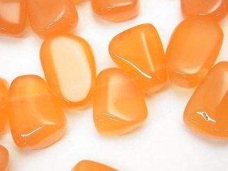 ボツワナ産オレンジカルセドニーAAA タンブルカット クレオ穴 半連/1連(約36cm)