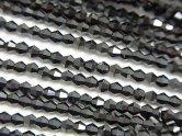 天然石卸 素晴らしい輝き!1連880円!宝石質ブラックスピネルAAA- 16面カット3mm 1連(約38cm)