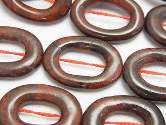 天然石卸 ポピージャスパー オーバル(ドーナツ)25×18×4 半連/1連(約37cm)