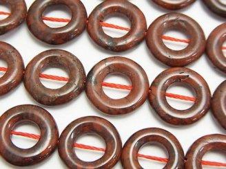 天然石卸 ポピージャスパー コイン(ドーナツ)15×15×3 半連/1連(約37cm)