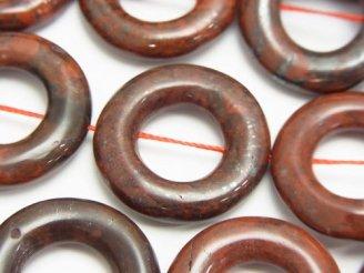 天然石卸 ポピージャスパー コイン(ドーナツ)25×25×6 半連/1連(約37cm)
