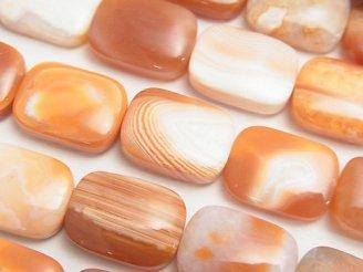 天然石卸 1連980円!オレンジストライプアゲート レクタングル18×13×6mm 1連(約38cm)