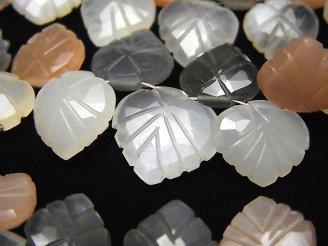 天然石卸 宝石質マルチカラームーンストーンAAA- マロン(リーフ彫刻) ブリオレットカット 半連/1連(約18cm)