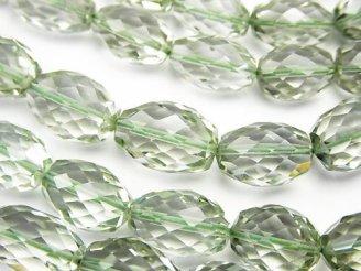 天然石卸 宝石質グリーンアメジストAAA ライス〜タンブルカット 半連/1連(約39cm)