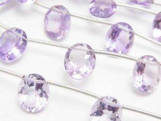天然石卸 1連2,480円!宝石質ピンクアメジストAAA オーバルファセットカット10×8 1連(10粒)