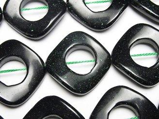 天然石卸 グリーンゴールドストーン ツイストダイヤ(ドーナツ)28×28×4mm 半連/1連(約37cm)