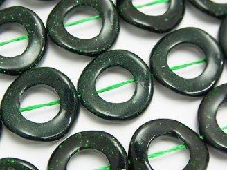 グリーンゴールドストーン ツイストコイン(ドーナツ)20×20×3mm 半連/1連(約37cm)