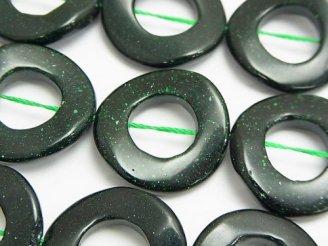 グリーンゴールドストーン ツイストコイン(ドーナツ)25×25×4mm 半連/1連(約37cm)
