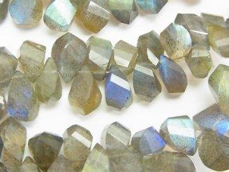 天然石卸 宝石質ラブラドライトAA++ ドロップ4面ツイスト ブリオレットカット 半連/1連(約18cm)