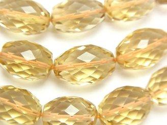 天然石卸 宝石質シトリンAAA ライス〜タンブルカット 半連/1連(約38cm)