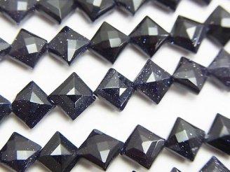天然石卸 1連880円!ブルーゴールドストーンAAA ダイヤカット8×8×4mm 1連(約36cm)