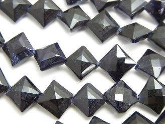 天然石卸 1連980円!ブルーゴールドストーンAAA ダイヤカット11×11×5mm 1連(約36cm)