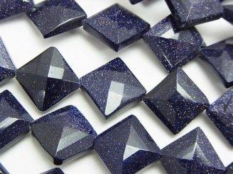 天然石卸 ブルーゴールドストーンAAA- ダイヤカット16×16×6mm 半連/1連(約36cm)