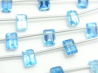 宝石質スイスブルートパーズAAA- レクタングルファセットカット7×5×3mm 半連/1連(8粒)