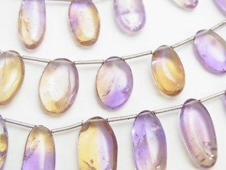 天然石卸 1連2,980円〜!宝石質アメトリンAA++ オーバル クレオ穴 1連(約18cm)