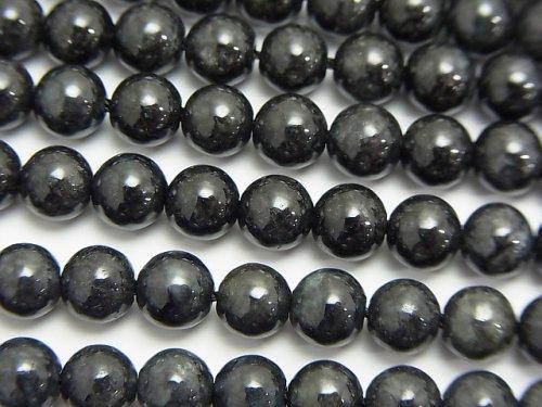 希少!ビルマ産ブラックジェダイト(黒翡翠)AA ラウンド6mm 1連(約38cm)