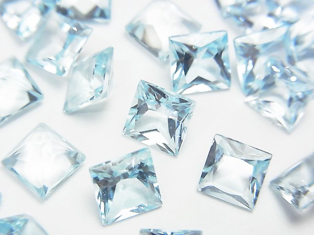 【動画】宝石質スカイブルートパーズAAA 穴なしプリンセスカット6×6×4mm 5粒