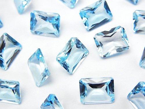 宝石質スカイブルートパーズAAA 穴なしレクタングル ファセットカット9×7×4mm 3粒