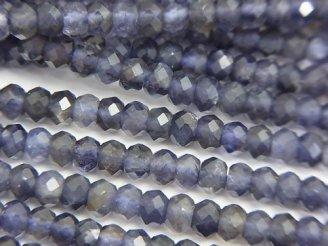 天然石卸 素晴らしい輝き!1連1,480円!アイオライトAA++ ボタンカット4×4×2.5mm 1連(約38cm)