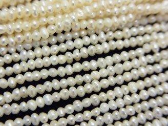 天然石卸 1連780円!極小淡水真珠ケシパールAA+ ポテト2〜2.5mm ホワイト 1連(約38cm)