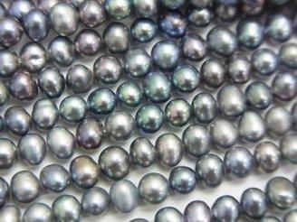 天然石卸 1連680円!淡水真珠AA++ メタリックシルバー ポテト4〜5mm 1連(約36cm)