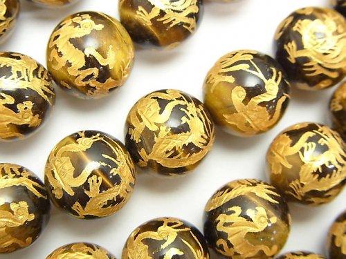 金色!四神獣の彫刻入り!イエロータイガーアイAAA- ラウンド12・14・16mm 1/4連〜1連(約36cm)