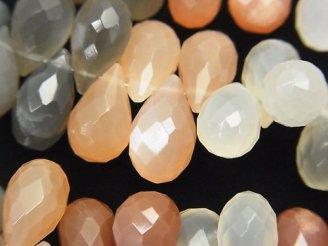 天然石卸 宝石質マルチカラームーンストーンAAA- 大粒ドロップ ブリオレットカット 半連/1連(約20cm)