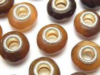 天然石卸 バッファローホーン 大粒ロンデル15mm 【5mm穴】 ブラウン 5個380円!
