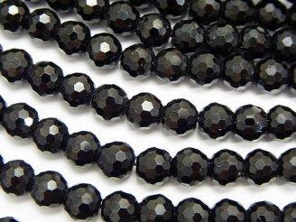 天然石卸 素晴らしい輝き!ブラックトルマリンAA++ 128面ラウンドカット6mm 半連/1連(約37cm)