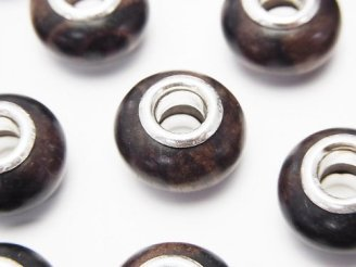 天然石卸 エボニー(黒壇) 大粒ロンデル14mm 【5mm穴】 5個380円!