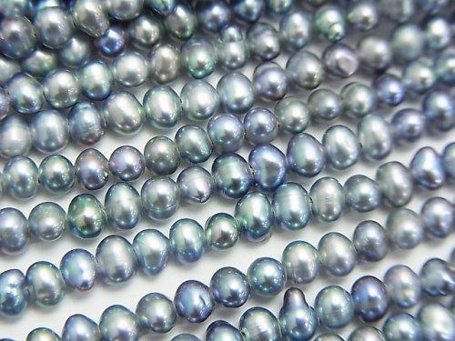 淡水真珠AA+ メタリックシルバー ポテト4mm 1連(約35cm)