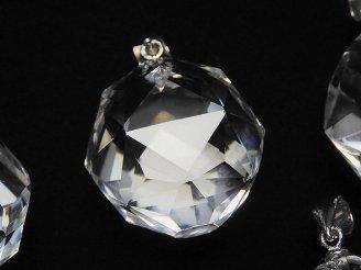 天然石卸 素晴らしい輝き!クリスタルAAA 大粒スターラウンドカット20mm ペンダントトップ 1個