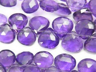 天然石卸 宝石質アメジストAAA- マロン ブリオレットカット 半連/1連(約18cm)