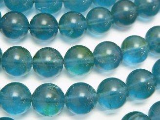 天然石卸 ブルーグリーンフローライトAAA- ラウンド10mm 半連/1連(約38cm)