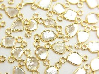 天然石卸 3個9,980円!ホワイトダイヤモンド スライス フリーフォーム 【両カン】 K18YG製 3個