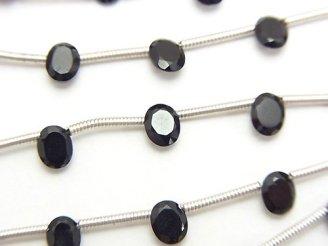 天然石卸 1連380円!宝石質ブラックスピネルAA++ オーバルファセットカット5×4mm 1連(約15cm)