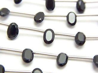 天然石卸 1連380円!宝石質ブラックスピネルAA++ オーバルファセットカット6×4mm 1連(約15cm)