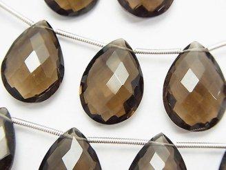 天然石卸 宝石質スモーキークォーツAAA ペアシェイプカット(クッションカット)18×13×6mm 半連/1連(約11cm)