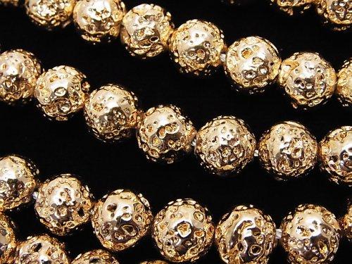 ラバー(溶岩) ラウンド8mm ゴールドコーティング 1連(約37cm)