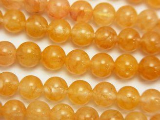 天然石卸 ヒマラヤ産ゴールド「アゾゼオ・アゼツライト」AAA ラウンド6mm 5粒〜1連(約38cm)