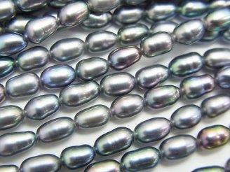 天然石卸 1連580円!淡水真珠AA+ ライス6×4×4 メタリックシルバー 1連(約38cm)