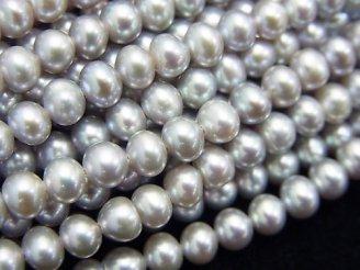 天然石卸 1連1,680円!淡水真珠AAA' シルバー ポテト4〜5mm 1連(約37cm)