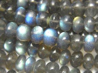 天然石卸 宝石質ラブラドライトAAA ロンデル(ボタン) サイズグラデーション 半連/1連(約38cm)