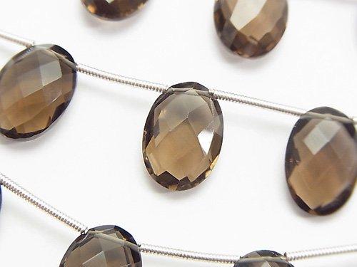 宝石質スモーキークォーツAAA オーバルカット(クッションカット)14×10×6mm 半連/1連(約13cm)