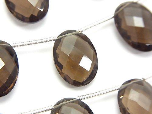 宝石質スモーキークォーツAAA オーバルカット(クッションカット)16×12×6mm 半連/1連(約14cm)